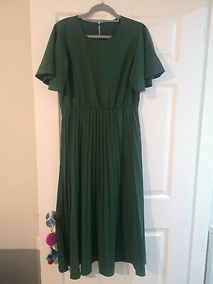 £3.50 • Buy Green Maxi Dress Pleated Skirt Angel Sleeves Size L Wedding Guest Bridesmaid