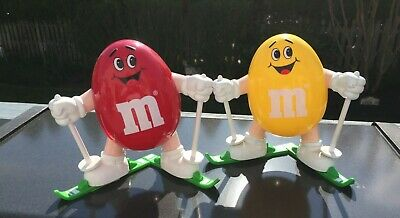 $21.75 • Buy 2 Rare Vintage 1991 M&M's Dispensers Yellow And Red Peanut Skiers 7