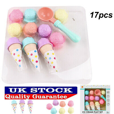 £10.99 • Buy 17pcs Kids Kitchen Ice Cream Play Set Pretend Play Cones Scoops Food Toy Playset
