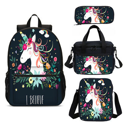 AU16.29 • Buy 4PCS Unicorn School Backpack Insulated Lunch Box Shoulder Bags Pen Case Lot Gift