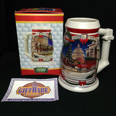 """$ CDN18.52 • Buy  BUDWEISER 2001 Holiday Series Beer Stein CS455 """"Holiday At The Capitol"""""""