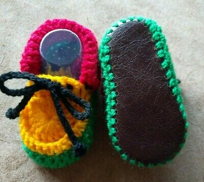£7.99 • Buy Baby Booties. Rasta. Hand Crocheted By Myself. Real Leather Soles. 4 Sizes.