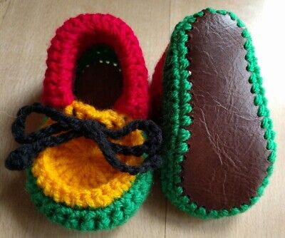 £7.99 • Buy Rasta Baby Booties. Hand Crocheted By Myself. Real Leather Soles. 4 Sizes.