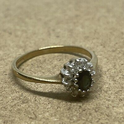 £75 • Buy 9ct Yellow Gold Sapphire And Diamond Ring Size J