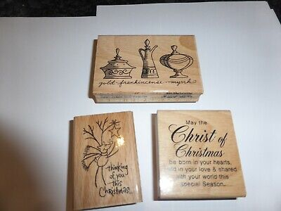£3.99 • Buy 3 Wooden Rubber Stamps Christmas By Stampendous  Ideal For Card Making