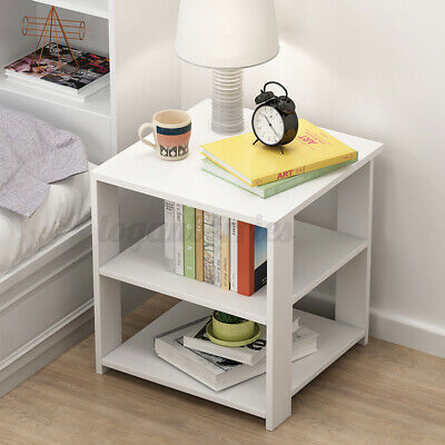 AU23.89 • Buy Bedside Tables Drawers Side Table Storage White Bedroom Nightstand Lamp 30x30cm