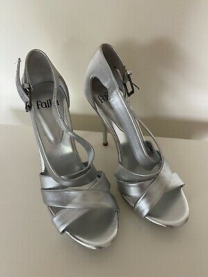 £1.30 • Buy Faith Silver Strappy High Heel Shoe Sandals Size 5