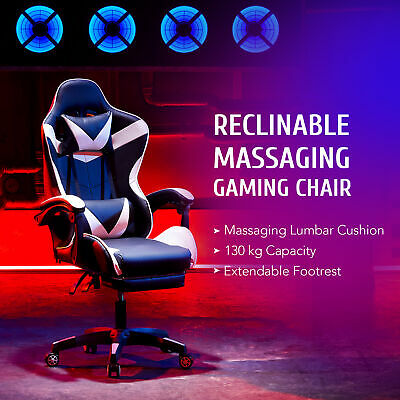 AU138.99 • Buy Office Chair Gaming Chair For Adults With Wheels Massage Armrests Footrest White