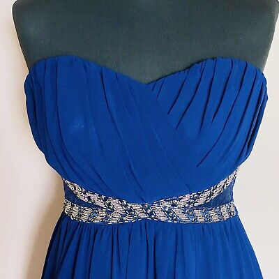 £13.99 • Buy Paper Dolls Royal Blue Strapless Prom Party Dress Sequin Lace Women's Size 10