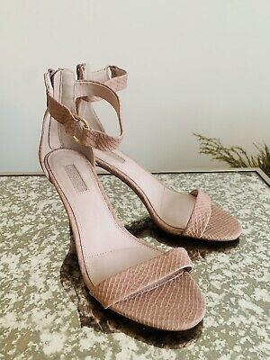£15 • Buy Topshop Nude Snakeskin Strappy High Heel Sandals Size 5 Worn Once