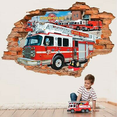 £18.25 • Buy Fire Truck Wall Sticker, Fire Engine, Personalized Wall Decal, Decor
