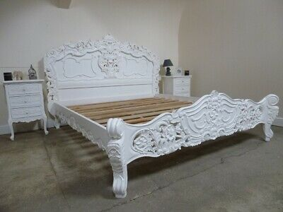 £849 • Buy French Rococo Super King Size Bed In White - Shabby Chic Style Super King Bed