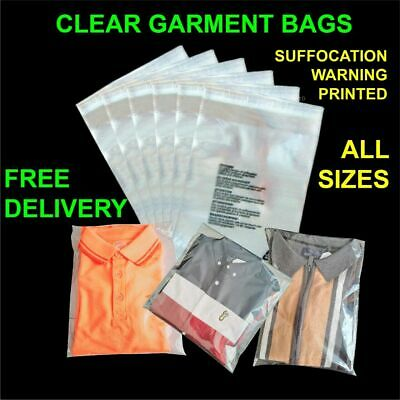 £3.25 • Buy Garment Bags Clear Cello Plastic Self Seal Packaging For Clothing T-Shirts Etc