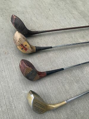 AU41.39 • Buy Lot Of 4 Vintage Wooden Head Golf Clubs Men And Women Clubs For Restoration