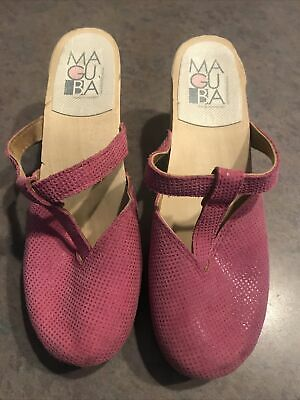 $19.99 • Buy Maguba Womens Size 37 Leather Slip On Wooden Platform Clogs Heeled Shoes