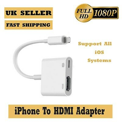 £6.99 • Buy 8 Pin To HDMI Cable/adapter AV To TV 1080P For IPhone 5/6/7/8/X/11 XR 11/12& Pro