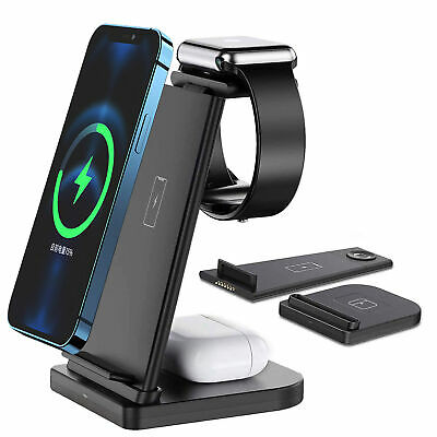 AU31.98 • Buy AU 3 In 1 15W Qi Fast Wireless Charger Dock Stand For Apple Watch IPhone Samsung