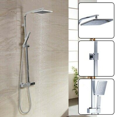 £42.99 • Buy Thermostatic Exposed Shower Mixer Bathroom Twin Head Large Square Bar Set Kit UK