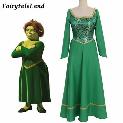£44 • Buy Shrek Cosplay Outfit Princess Fiona Dress Green Costume Printing Suit