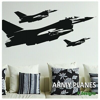 $18.05 • Buy Fighter Jet Wall Stickers Boys Vinyl Transfer Decals Military Plane Art Graphics