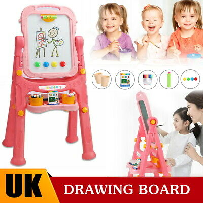 £20.99 • Buy Pink Magnetic Drawing Board Easel Double Sided Folding Kids Doodle Sketchpad