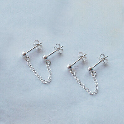 £22 • Buy Double Piercing Earrings Pair Set Sterling Silver Ear Chain For Two Holes Design