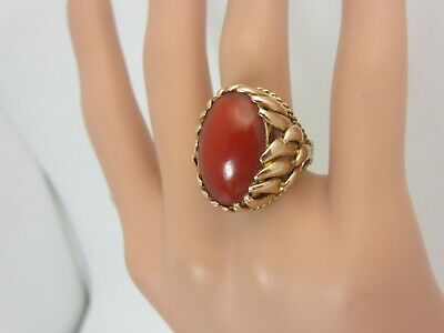 £723.56 • Buy Vintage Estate 14k Yellow Gold And Coral Ring 20 X 14 Mm. Gorgeous