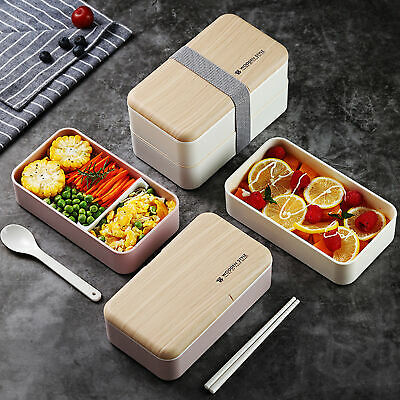AU27.43 • Buy Bento Box Leak-proof Double Layers 3 Colors Stackable Lunch Container For Work