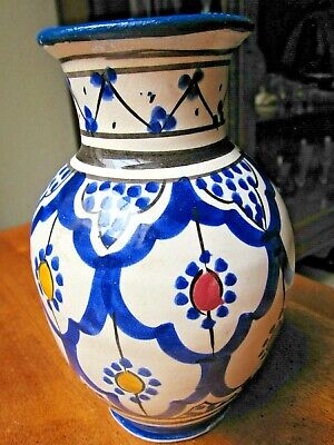 £14.61 • Buy Vintage Hand Painted Moroccan Pottery Vase Signed SAFI, 7  Tall