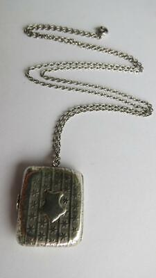 £50 • Buy Victorian Sterling Silver Star Detail Rectangle French Locket 24  Chain Necklace