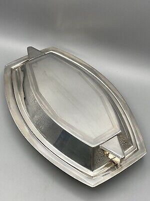 £85 • Buy SUPERB UNUSUAL ART DECO SILVER PLATED ENTREE DISH & COVER ENGINE TURNED C.1930