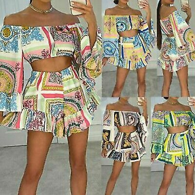 £19.90 • Buy Ladies Scarf Print Off Shoulder Crop Top Flared Shorts Summer Holiday Co Ord Set
