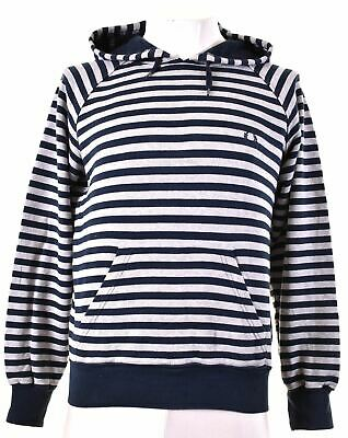 £33.20 • Buy FRED PERRY Mens Hoodie Jumper Medium Navy Blue Striped Cotton CI06