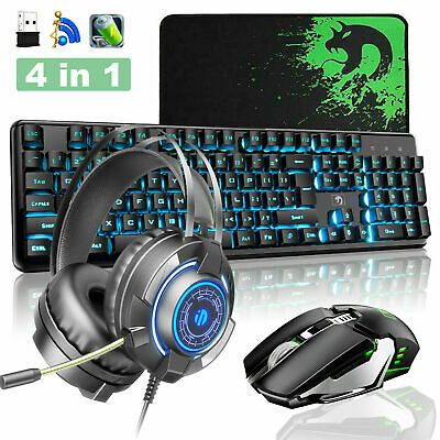 AU77.30 • Buy AU Wireless Gaming LED Backlit Keyboard + Mouse + Headset + Mat Combo For PS4 PC