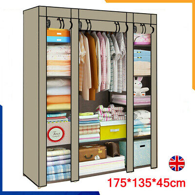 £11.85 • Buy Large Canvas Fabric Wardrobe With Hanging Rail Shelving Clothes Storage Portable