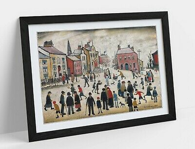 £17.99 • Buy Ls Lowry, People Standing About -framed Poster Wall Art Print Artwork- Beige
