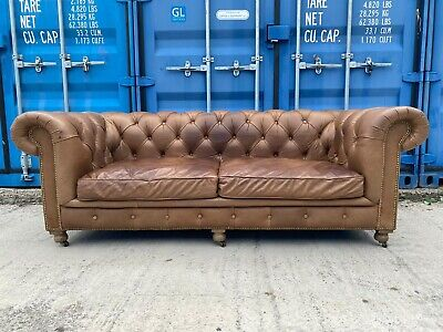 £999 • Buy Halo Kensington Whisky Leather 3 Seater Chesterfield Sofa