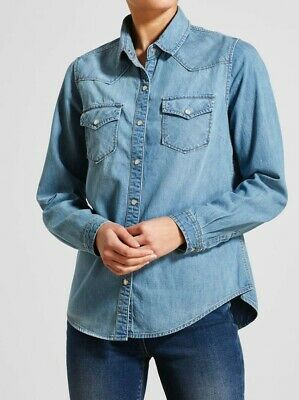£11.99 • Buy Ladies Denim Casual Summer Clothing Shirt Button Long Sleeve Cotton Top Size