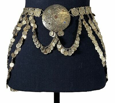 £17.88 • Buy Beautiful Gold Tone Medallion With Stones Chain Belt For Belly Dance