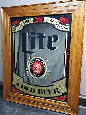 $79.99 • Buy Miller Lite Cold Beer Mirror With Wood Frame 23 1/2  X 29 1/2 American Mirror