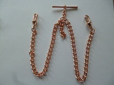 £5.50 • Buy Rose Gold Coloured Double Albert Pocket Watch Chain With T Bar & Swivel Clasps