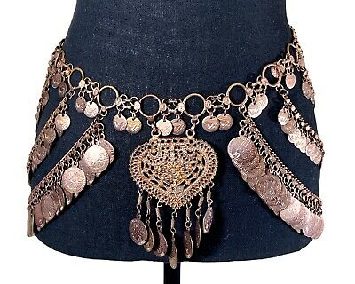 £17.88 • Buy Beautiful Copper Gold Tone Medallion Chain Belt For Belly Dance Burning Man