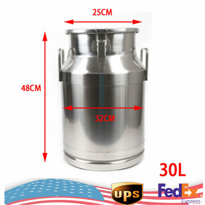 $102.25 • Buy 30L Stainless Steel Milk Can Bucket Pail For Honey Juice Storage With Sealed Lid