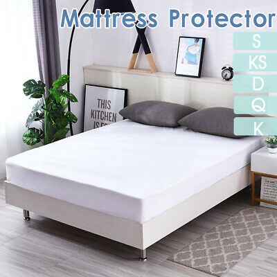 AU19.99 • Buy Fully Fitted Mattress Protector Waterproof All Size Terry Cotton Bed Soft Cover