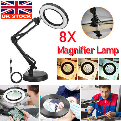 £17.59 • Buy 8X Magnifying Desk Lamp Table Top Glass Beauty Nail Salon Tattoo Magnifier Light