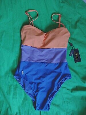 £50 • Buy Polo Ralph Lauren One Piece Swimsuit- XS-Apricot And Navy Colour, Soft Material.
