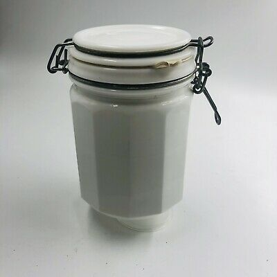 $18 • Buy Milk Glass Panel Wire Bail Lid Canister
