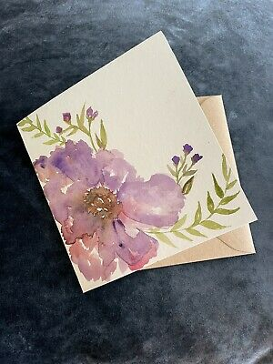 """£4.99 • Buy Hand Painted Watercolour Flowers Colour  Card Handmade Blank 6x6 """" (not A Print)"""