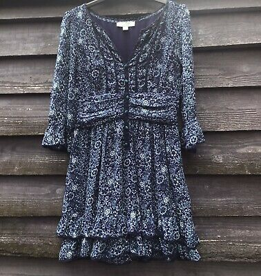 £15 • Buy MONSOON FUSION Blue/Teal Floral Chiffon Button Front Frilled Dress UK12