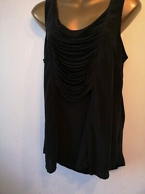 £12.99 • Buy Top 14 Warehouse Silk Black Sleeveless Strand Front Party Holiday Smart